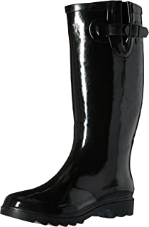 Henry Ferrera Women's Classic Black Glossy Waterproof Rubber Rain Boots