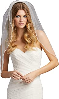 Fingertip Wedding Bridal Veils Edged with Pearls Accented with Rhinestones VL-1007