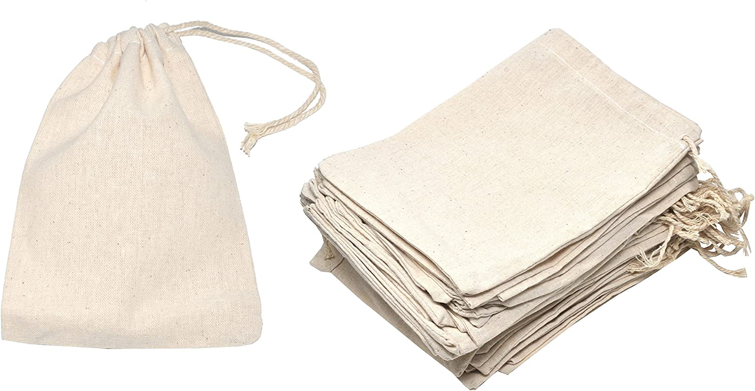 Mandala Crafts Bulk Unbleached Fabric Cloth Cotton Muslin Sachet Bags With Drawstring For Soap Spice Tea Favor Gift 5 X 7 Inches 50 Count Ivory