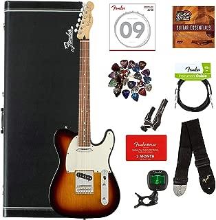 Fender Player Telecaster, Pau Ferro - 3-Color Sunburst Bundle with Hard Case, Cable, Tuner, Strap, Strings, Picks, Capo, Fender Play Online Lessons, and Austin Bazaar Instructional DVD