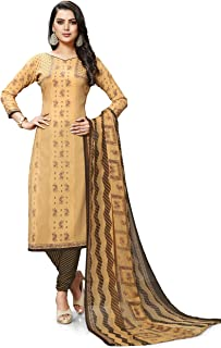 Venisa Cream Leon Printed Unstitched Dress Material For Women