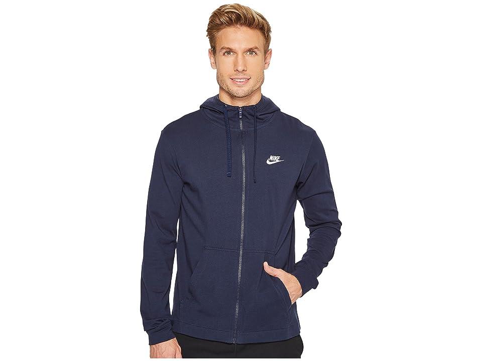 Nike Sportswear Full-Zip Hoodie (Obsidian/White) Men