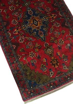 NOORI RUG Vintage Distressed Lutfi Red/Navy Rug, 3'5 x 6'8