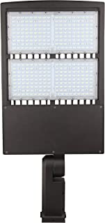 LED Parking Lot Lights, 5000K LED Shoebox Lights, Waterproof IP65, Commercial Area Street Security Lighting Fixture (300W with Photocell, Bracket Type A&D)