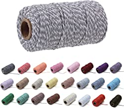 100 Yard / 2 mm gekleurde katoenen touw Craft koord maken breien String touw voor ambachten geschenkverpakking (Grijs)