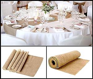 Hessian Jute Table Runner 12'' x 108'' Hemmed Edges Shabby Chic Bridal Wedding Home Decor Soft to Touch