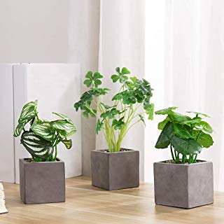 MyGift Faux Tabletop Plants with Square Grey Cement Pots, Set of 3