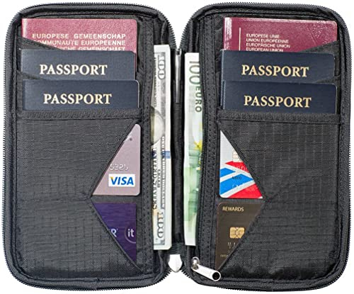 Travel Wallet & Family Passport Holder w/RFID Blocking- Document Organizer Case (Shadow)