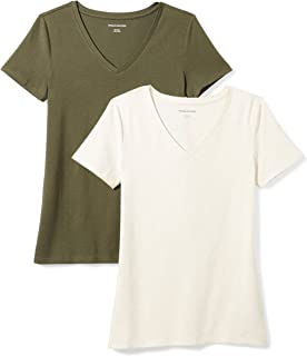 Amazon Essentials Women s 2-Pack Short-Sleeve V-Neck T-Shirt efab63e8a