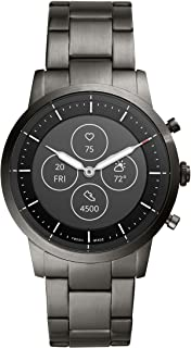 Fossil Men's 42MM Collider HR Heart Rate Stainless Steel Hybrid HR Smart Watch, Color: Collider - Smoke (Model: FTW7009)