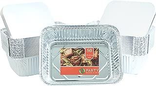 PARTY BARGAINS Premium Quality Durable, 9 X 7 Aluminum Foil Pans 5 Lb Capacity with Board Lids (50 Count)