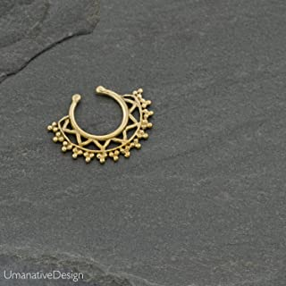 Fake Septum Nose Ring, Gold Brass Indian Tribal Faux Clip On Non-Pierced Septum Cuff, Handmade Piercing Jewelry