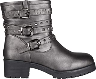 KRISP Women Ladies Studded Biker Ankle Calf Boots Low Block Heel Western Shoes Winter