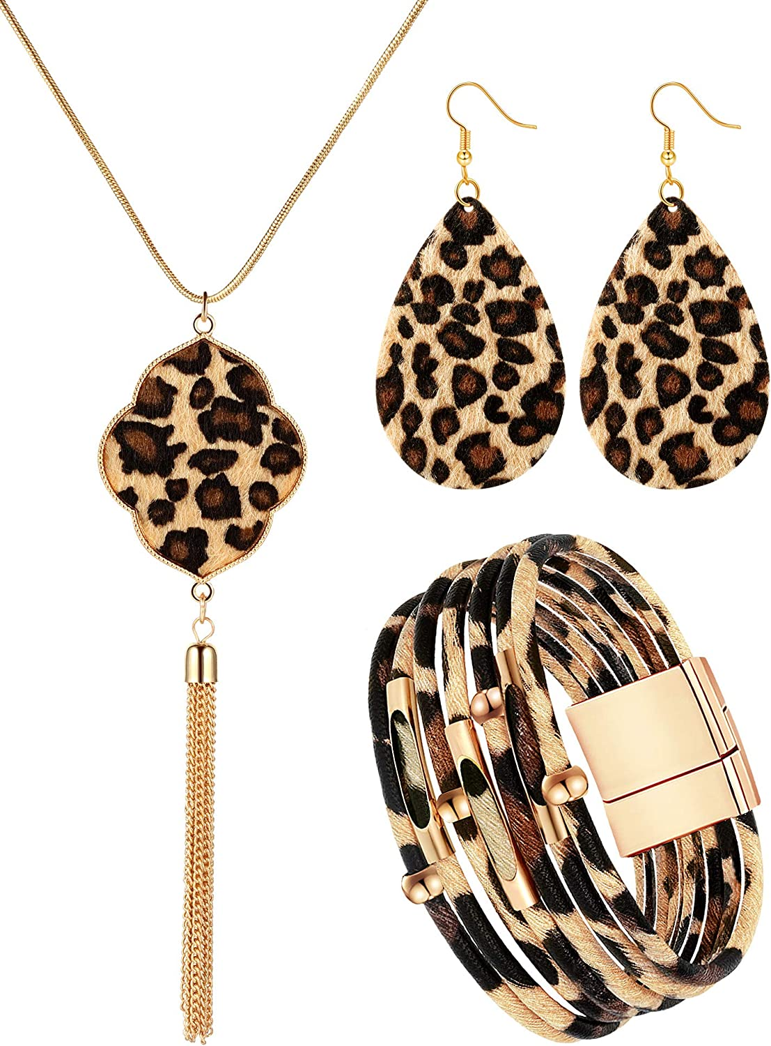 Hicarer 3 Pieces Bracelets Bohemia Earrings Necklace Leopard Jewelry Set Multilayer Leather Cuff Bracelet Boho for Women Girls Cosplay Party Supplies Costume Accessories