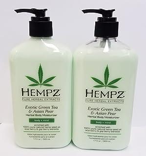 Hempz Exotic Herbal Body Moisturizer, Green Tea and Asian Pear,- Pack of 2 (17oz) + Buy 3 Pack get FREE 4 Fanta Sea Dispos...