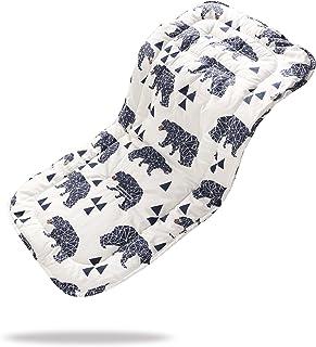 Baby Sitzauflage für Kinderwagen, 32x80 cm Baby Sitzeinlage aus 100% Baumwolle Weiche und Reversible Autositz Kinderwagenauflage für Babyschale BuggySchwarzbär