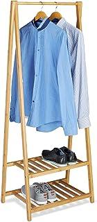 Relaxdays Bambou support de vêtements, 2étagères, vêtement de rails, H x L x P: 150x 60x 40cm, portable, garde-robe, ...