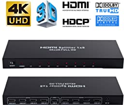 4K 1x8 HDMI Splitter, NEWPOWER One in Eight Out Powered 8way HDMI Splitter Audio Video Distributor Amplifier with Charger, Support Full HD 3D & 4K x 2K
