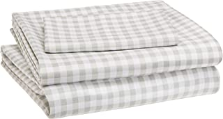 AmazonBasics Kid's Sheet Set - Soft, Easy-Wash Microfiber - Twin, Grey Gingham Plaid