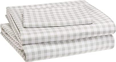 AmazonBasics Kid's Sheet Set - Soft, Easy-Wash Microfiber - Twin, Grey Gingham Plaid
