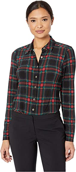 Long Sleeve Plaid Button Front Knit Top