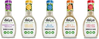 Daiya Salad Dressing 5 Flavor Variety Pack, Dairy Free :: Homestyle Ranch, Creamy Caesar, Blue Cheeze, Hon'y Mustard, Creamy Italian :: Vegan, Gluten Free, Soy Free, Egg Free, Non GMO, 8.36 Oz.