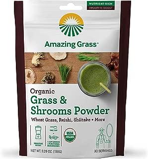 Amazing Grass Organic Greens & Shrooms Powder: Wheatgrass, Reishi, Shitake, & More Mushrooms Smoothie Booster, 30 servings