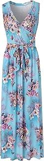 BEAUTIFUL-LIFE Women's Summer Casual Sleeveless Floral Print Spring Summer Dress Beach Skirt