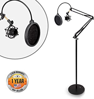 Pyle Microphone Boom Suspension Stand - Scissor Spring Arm Floor Mic Stand with Shock Mount & Pop Filter (PMKSH28)