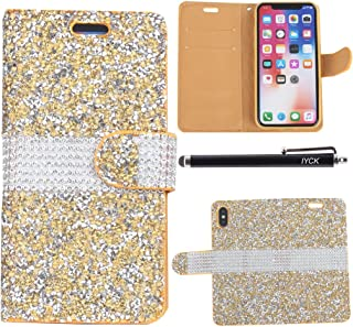 iPhone X Case, iPhone Xs Case, iYCK Leather Card Slot Luxury 3D Handmade Diamond Rhinestone Crystal Bling Glitter Magnetic Closure Flip Folio Wallet Case Cover for Apple iPhone X/Xs 5.8inch - Gold