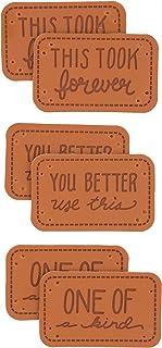 Boye Etiquetas feitas à mão de couro sarcástico para artesanato, tricô e crochê, pacote com 6