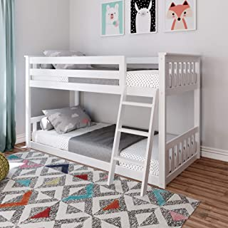 Max & Lily Low Bunk Bed, Twin, White