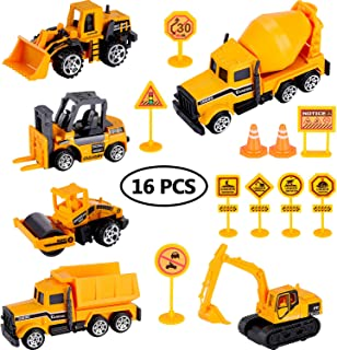 Gejoy Construction Vehicle Cake Decoration Set Includes 6 Pieces Mini Construction Vehicles and 10 Pices Road Sign Toy Cupcake Toppers for Kids Playing Birthday Cake Decortion