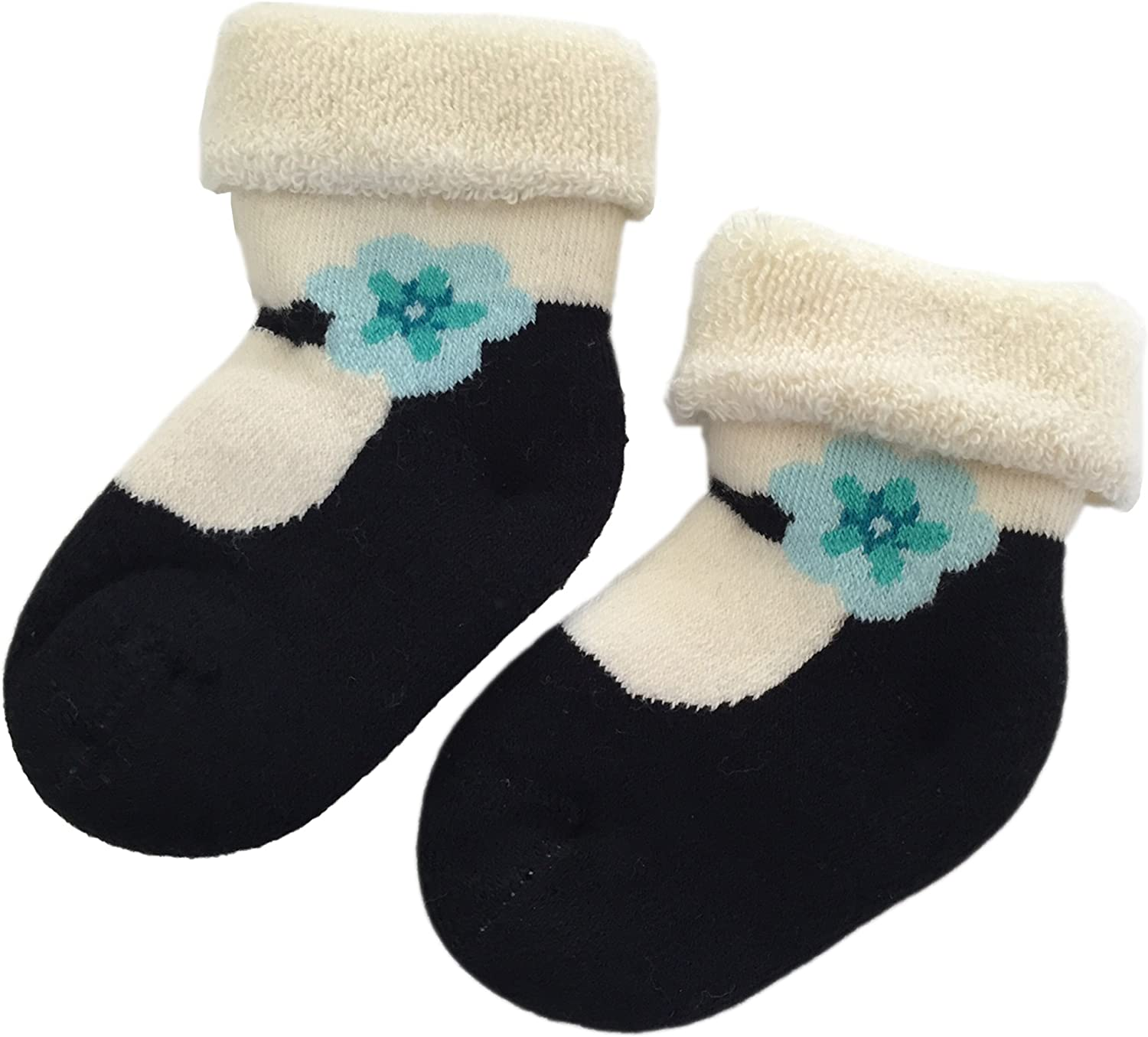 0-6 Months Stay On Baby Socks Mary Jane with Blue flower