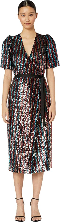 Multicolored Sequins Wrap Dress