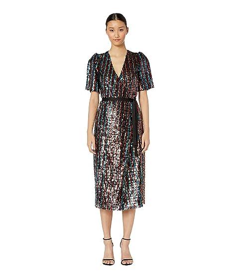 ML Monique Lhuillier Multicolored Sequins Wrap Dress