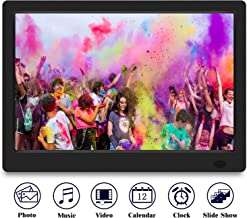 TENSWALL 13.3 Zoll Digitaler Bilderrahmen 1280x800 hochauflösendes Full-IPS-Display Foto/Musik/Video-Player Kalender Wecker automatischer EIN/aus Timer, unterstützt USB-und SD-Karte, Fernbedienung