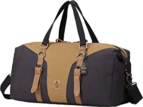 Troop London Heritage Canvas Leather Travel Duffel Bag | Canvas Holdall | Gym Bag TRP0432 (Navy Camel)