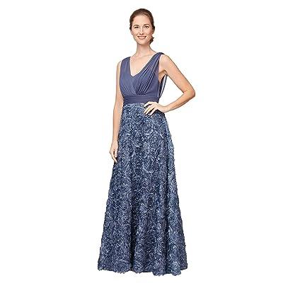 Alex Evenings Long Sleeveless A-Line Rosette Dress (Wedgewood) Women