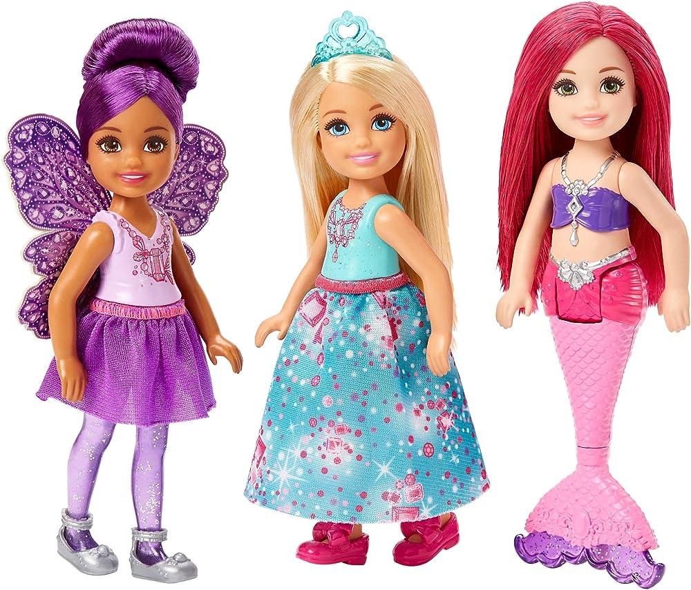 Mattel, barbie dreamtopia, confezione da 3 bambole chelsea sirena, fatina e principessa FPL86