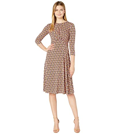 Donna Morgan 3/4 Sleeve Stretch Knit Jersey Midi with Knot Front and Pleated Skirt Dress (Rose Multi) Women
