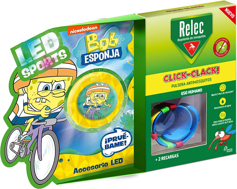Relec Relec Pulsera Antimosquitos Bob Esponja Ciclismo | Eficaz Contra El Mosquito Tigre. Resistente Al Agua | Contiene 2 Recargas | Duración 2 Meses 150 g