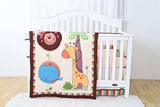 Decotex 4 Piece Crib Baby Bedding Nursery Set Includes Designs for Boys & Girls (Safari Adventure)