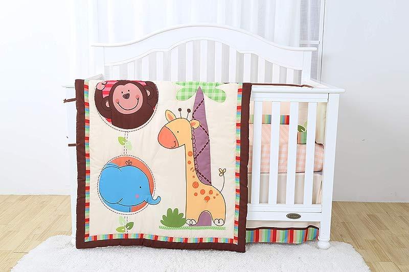 Decotex 4 Piece Safari Jungle Friends Baby Nursery Crib Bedding Set