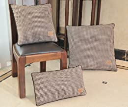 Shinnwa Wool Polyester Double-faced Same Design Houndstooth Decorative Throw Pillow Case Cushion Covers for Living Room, Brown, Set of 3
