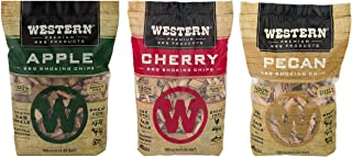 Ultimate Western BBQ Smoking Wood Chips Variety Pack Bundle (3)- Apple, Pecan, and Cherry Flavors