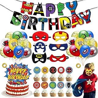 39 Pièces Décoration de fête d'anniversaire de Super-héros,Ballons de Superhero Anniversaire Décoration Kit,Ballon de Joye...