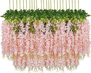 Pauwer 24 Pièces Artificielle Fleurs Faux Wisteria Vigne Glycine Artificielles Flowers en Soie pour la Maison Jardin Parti...