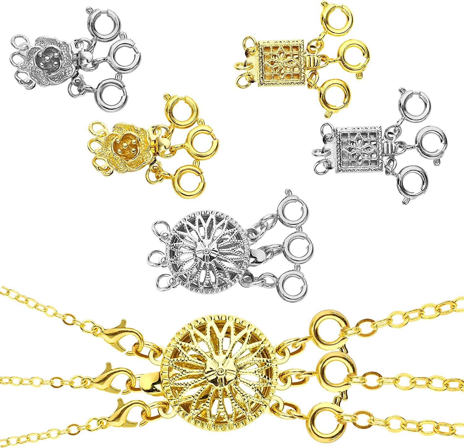 PAFUWEI 6 Over item handling lowest price Pcs Necklace Layering Clasps 3 Clasp Layered