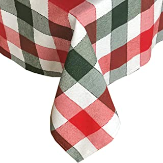 Lintex Metallic Christmas Holiday Plaid Fabric Tablecloth, Red and Hunter Green Cottage Plaid Cotton Blend Tablecloth, 60 Inch x 120 Inch Oblong/Rectangle